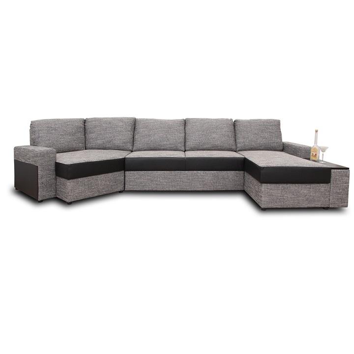 U alakú ülőgarnitúra, fekete/szürkés barna, jobb oldali kivitel, ROY