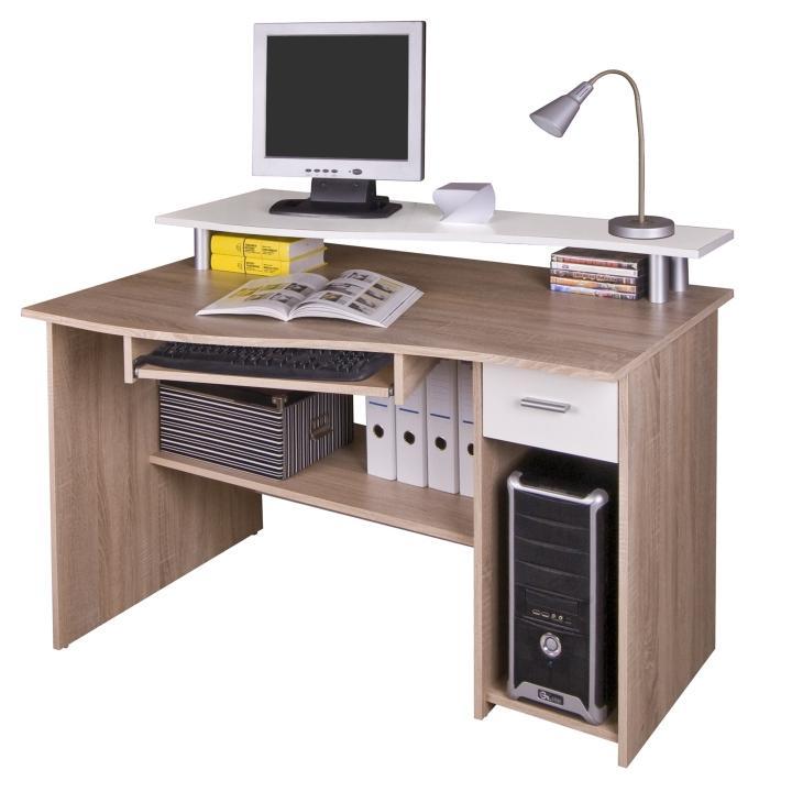 Számítógépasztal, sonoma tölgyf/fehér, PLUTO