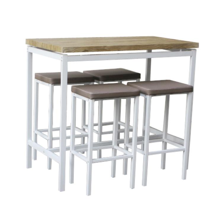 Barový jedálenský set, 1+4, biela/dub sonoma/hnedá, LUCERO - tovar 2. triedy