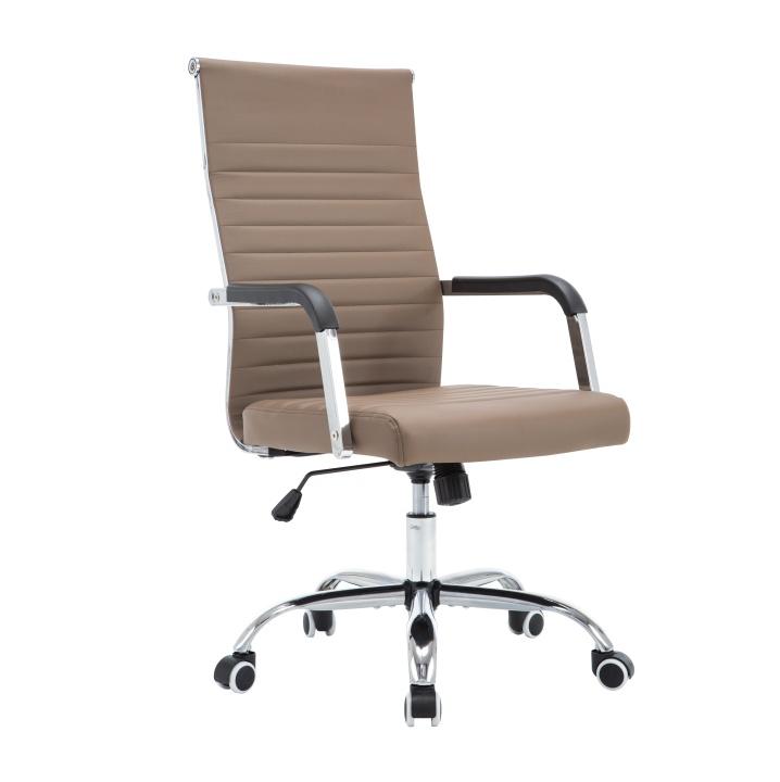 Kancelárske kreslo, ekokoža/kov, taupe/chróm, FARAN