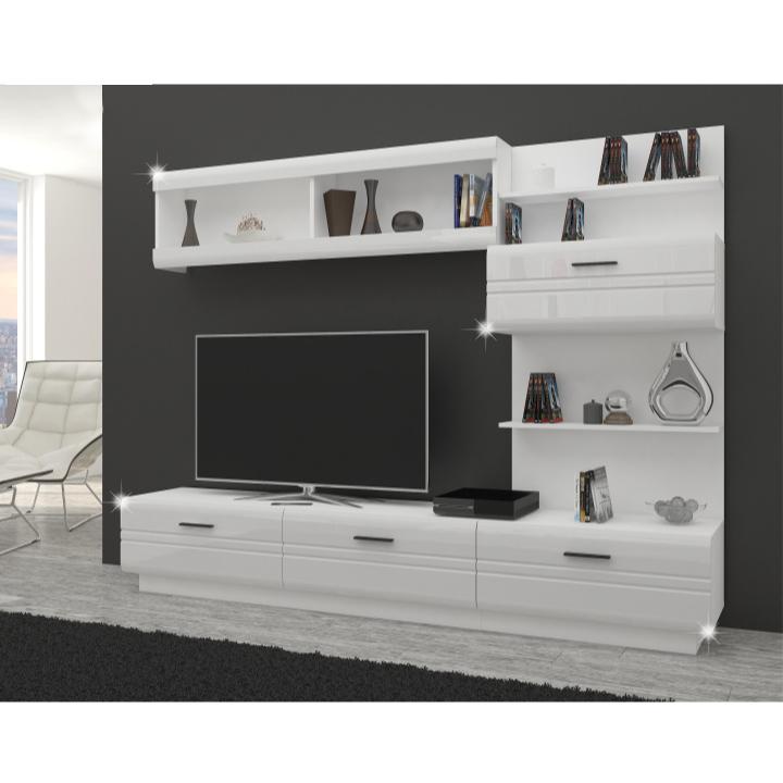 Obývacia stena, biela/biely lesk, ANDY