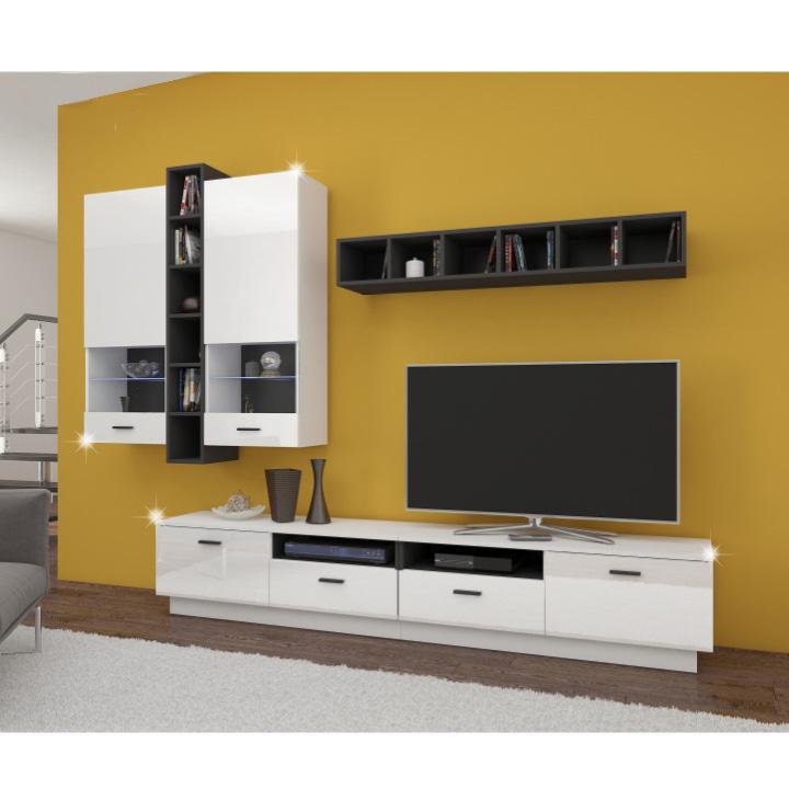 Obývací stěna, bílá / černá / bílý lesk, LUCK