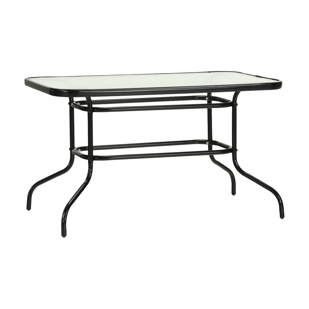 Jedálenský stôl, tvrdené sklo/oceľ, DEMAT NEW, rozbalený tovar