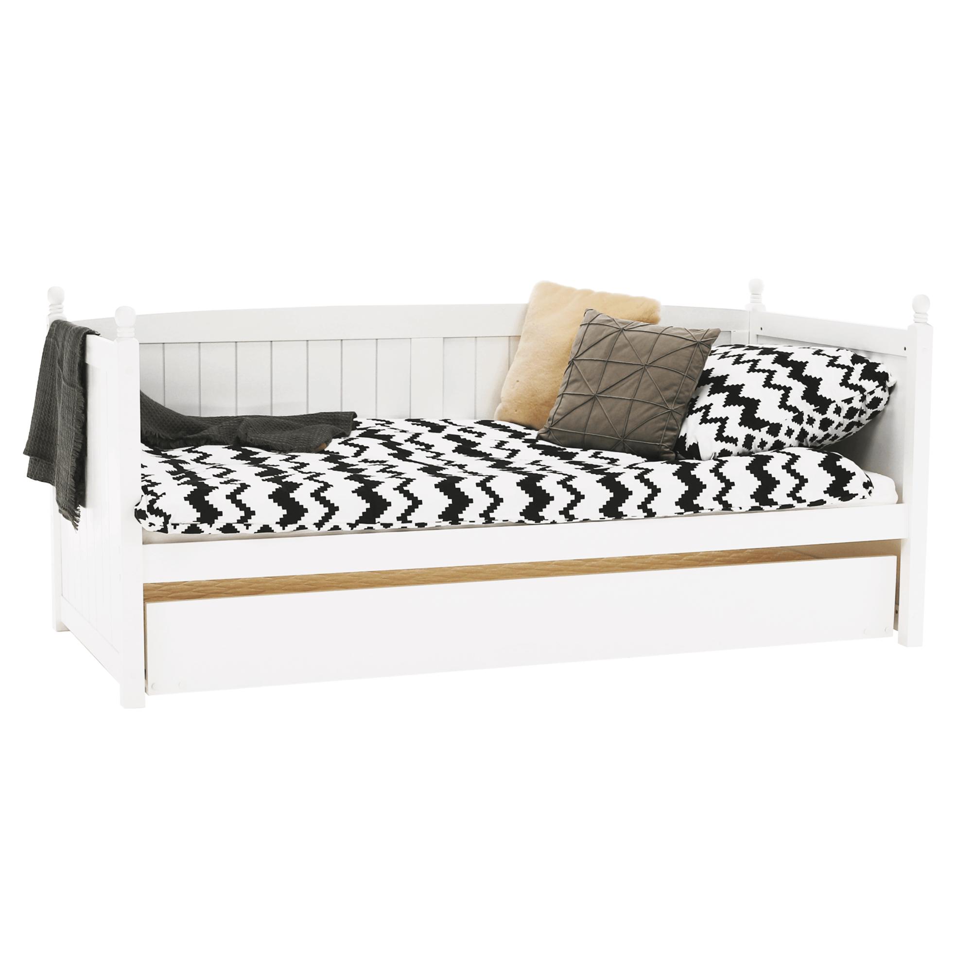 Ágy pótággyal, tűnyalábos fenyőfa, fehér, 90x200, GLAMIS