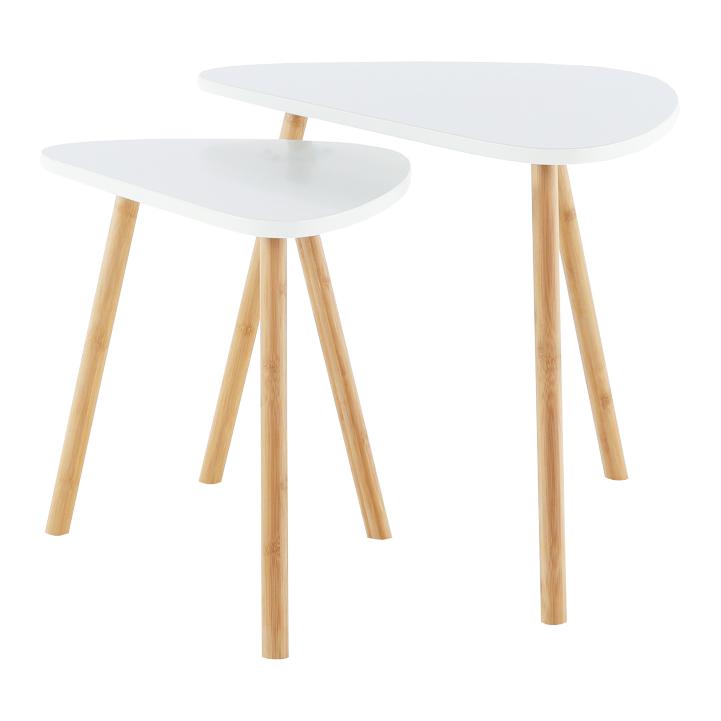 Sada dvoch konferenčných stolíkov, biela/prírodná, BISMAK