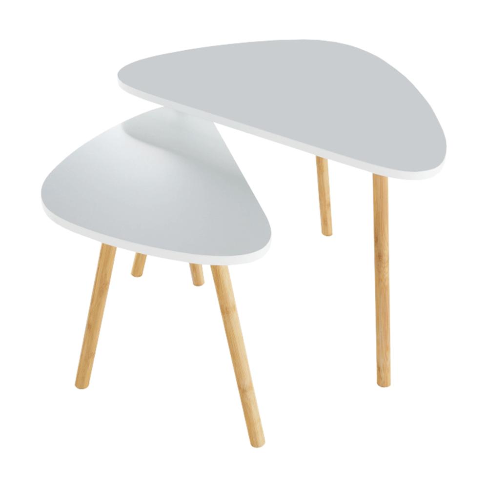 Konferenčné stolíky, set 2 ks, biela/prírodná, BISMAK