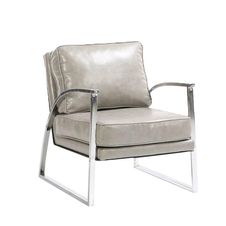 Designové křeslo, stříbrnošedá / chrom, KUMON
