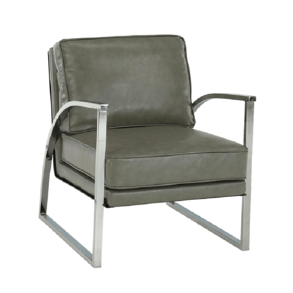 Dizájnos fotel, ezüst-szürke/ezüst, KUMON