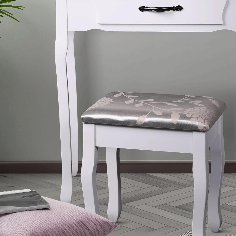 Fésülködőasztal ülőkével, fehér/ezüst, LINET New