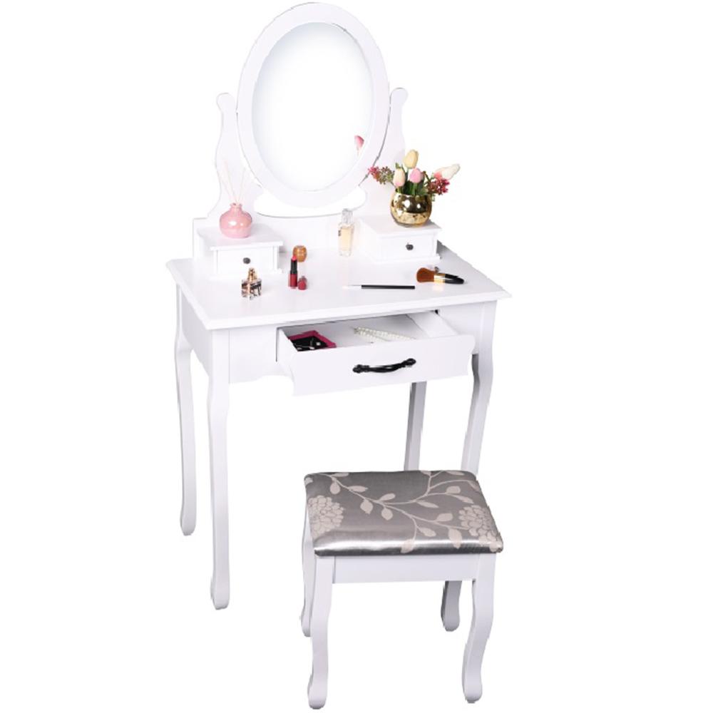 Măsuţă de toaletă cu taburet, alb/argintiu, LINET NEW