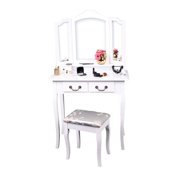 Toaletný stolík s taburetom, biela/strieborná, REGINA NEW