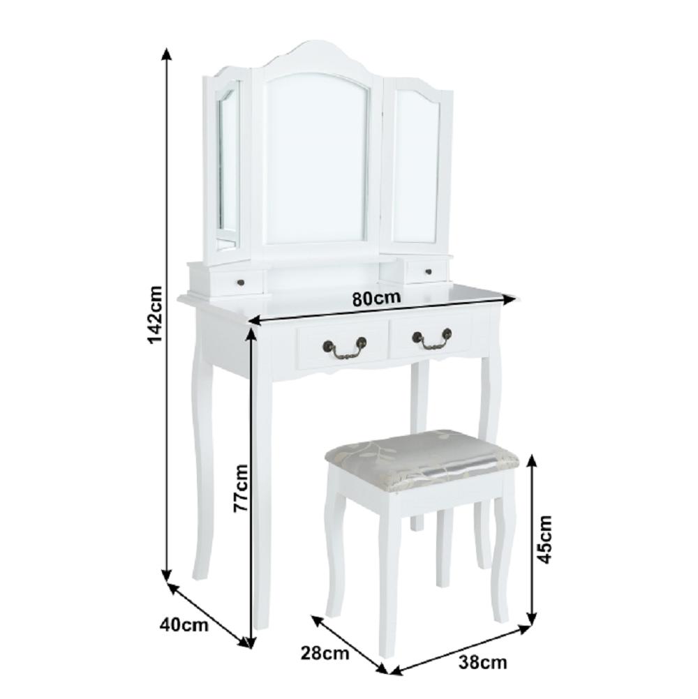 Fésülködőasztal ülőkével fehér/ezüst, REGINA