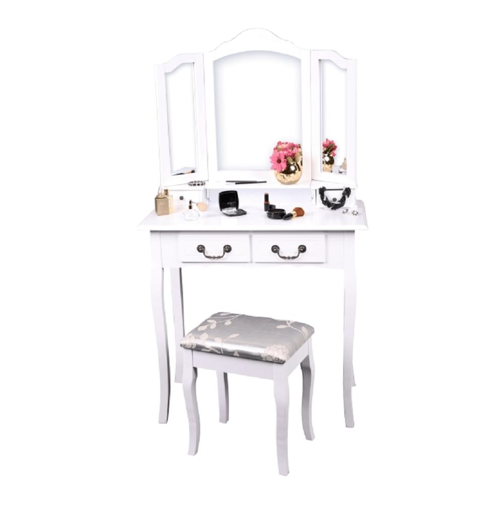 Toaletní stolek s taburetem, bílá/stříbrná, REGINA NEW, TEMPO KONDELA