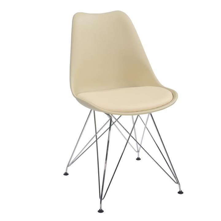 Stolička, capuccino-béžová/chróm, METAL 2 NEW
