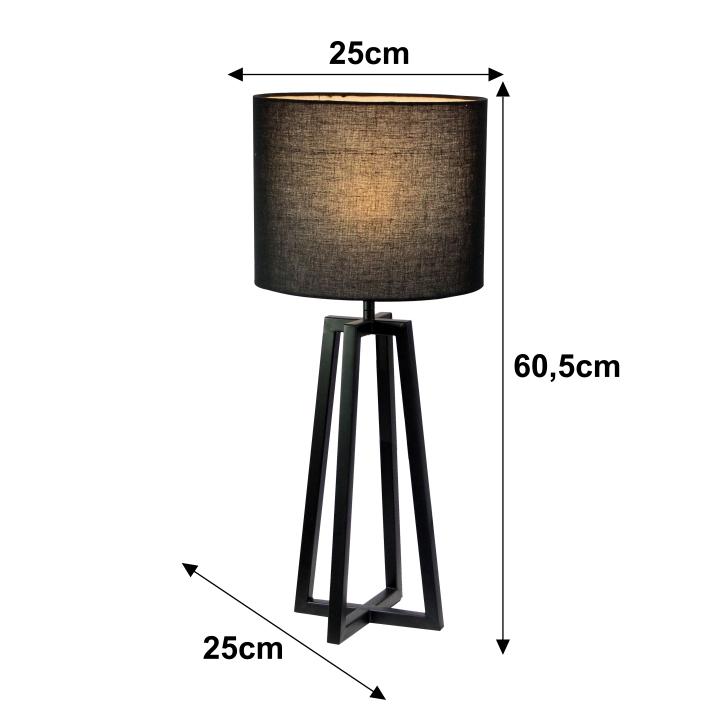 Stolní lampa, černá, QENNY 15