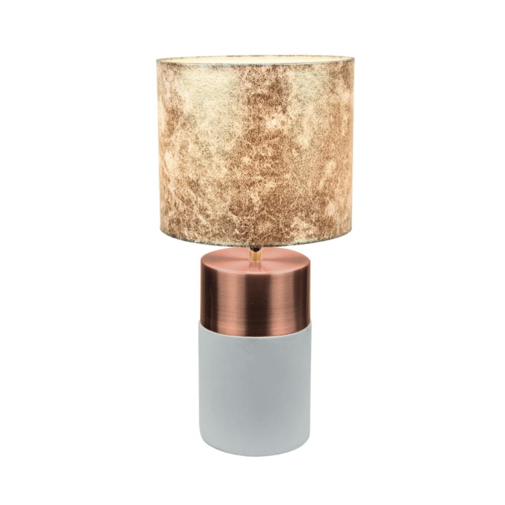 Stolná lampa, sivohnedá/ružovozlatá/zlatá vzor, QENNY TYP 18
