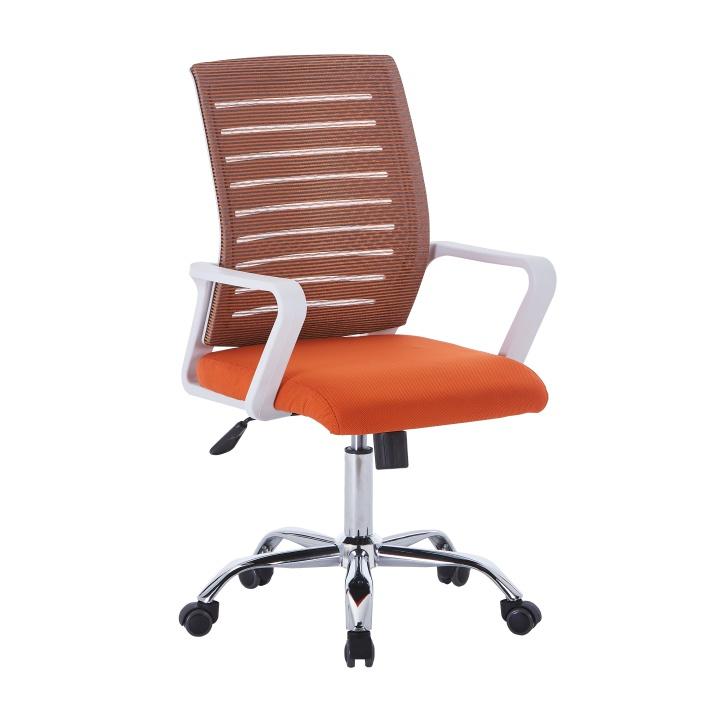 TEMPO KONDELA Kancelárske kreslo, biela/oranžová, CAGE - Tempo nábytek