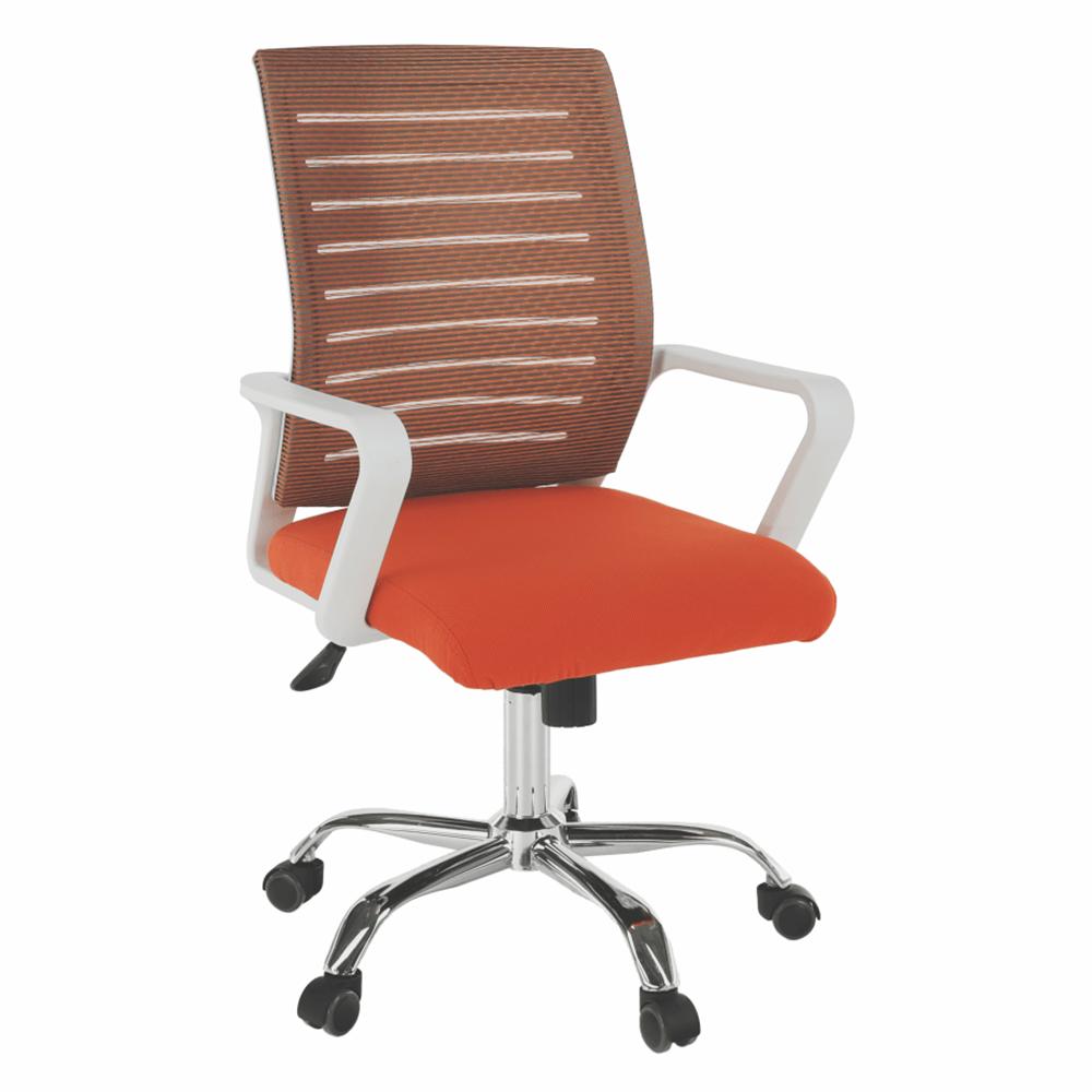 Kancelářske kreslo, biela/oranžová, CAGE, TEMPO KONDELA