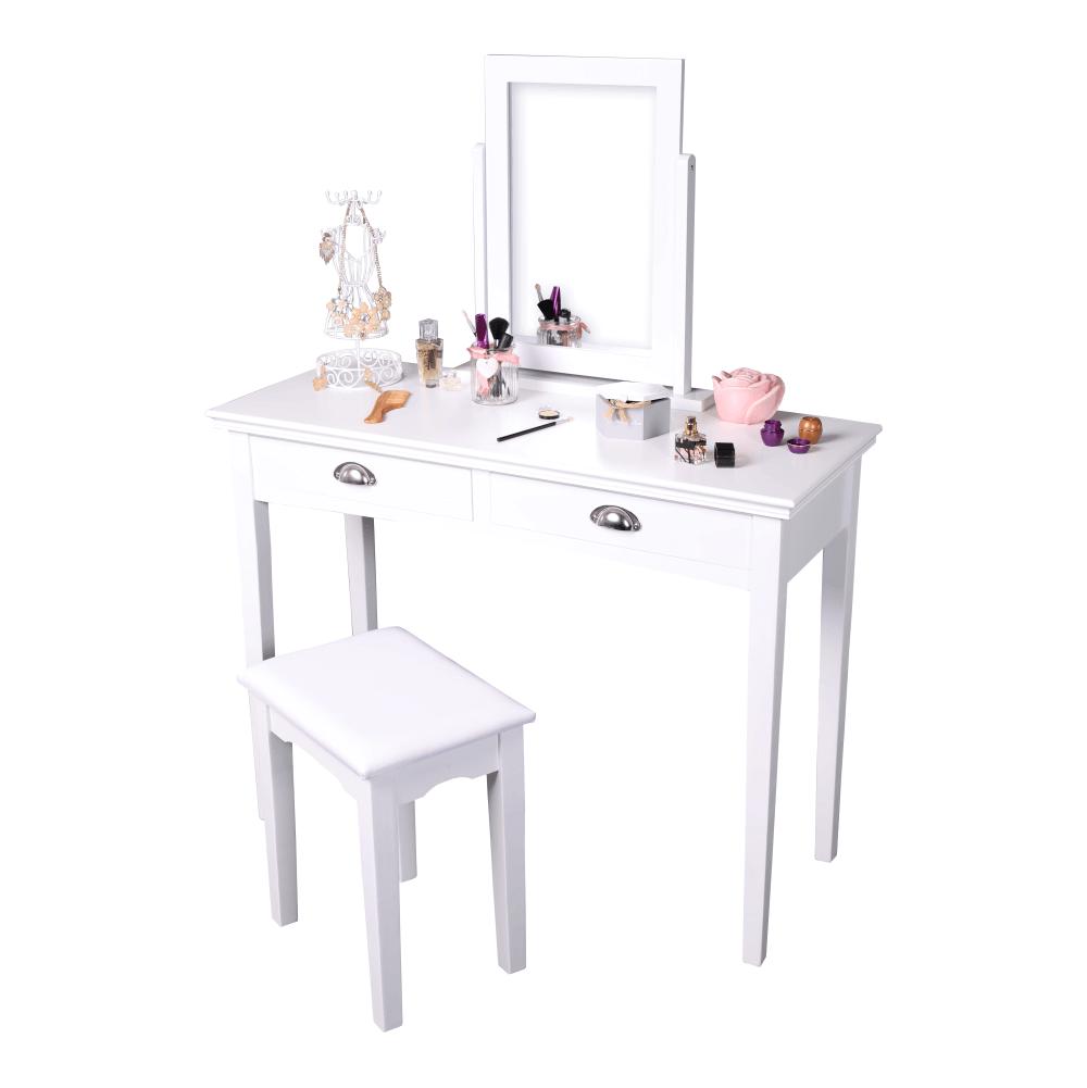 Toaletný stolík s taburetom, toaletka, biela, RESINA