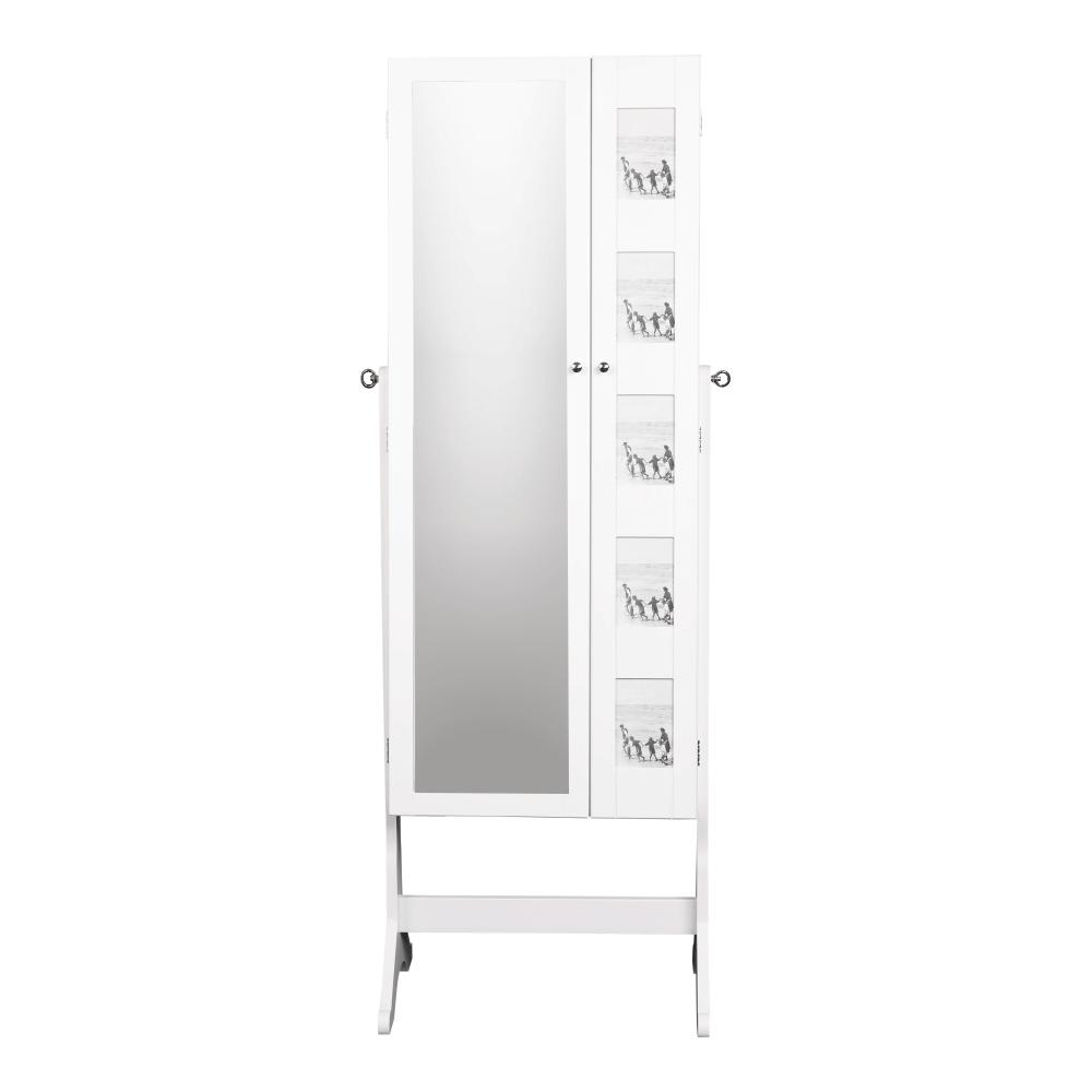 Zrkadlo s úložným priestorom na bižutériu, biela, CANINI