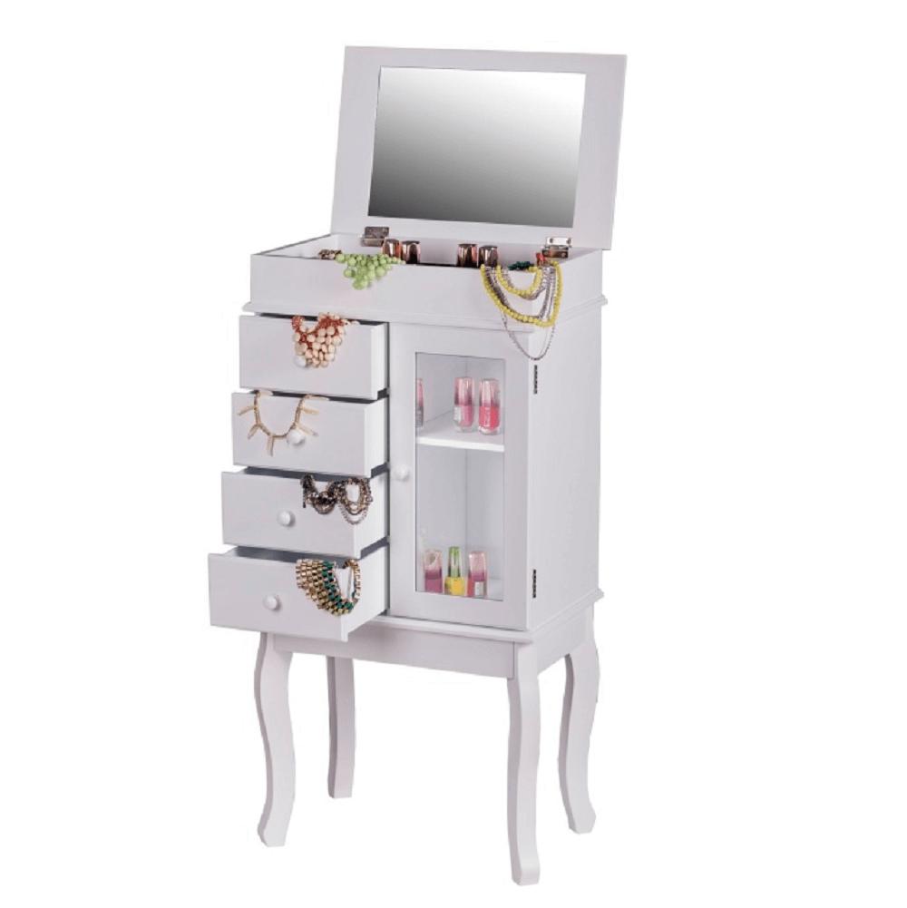 Cutie de bijuterii cu oglindă, alb, RULIA