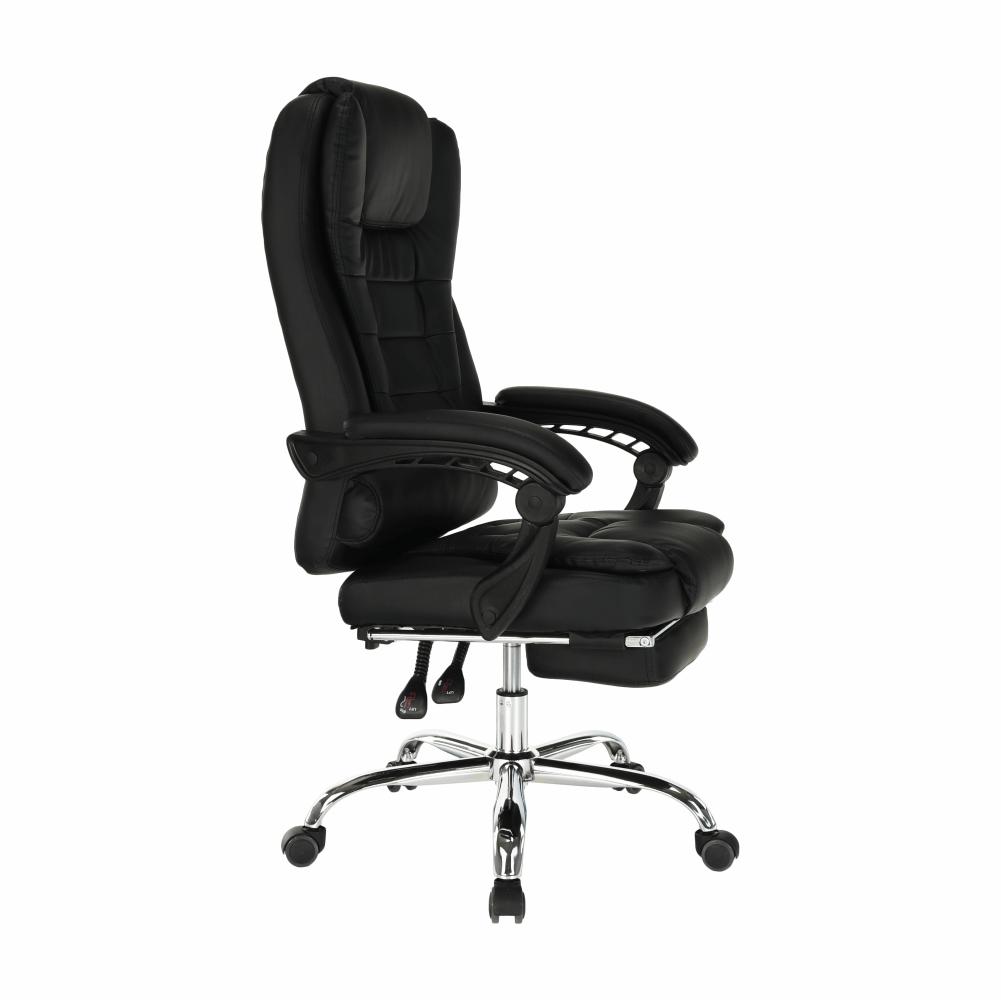 Kancelárske kreslo s výsuvnou podnožou, čierna, TICHON NEW