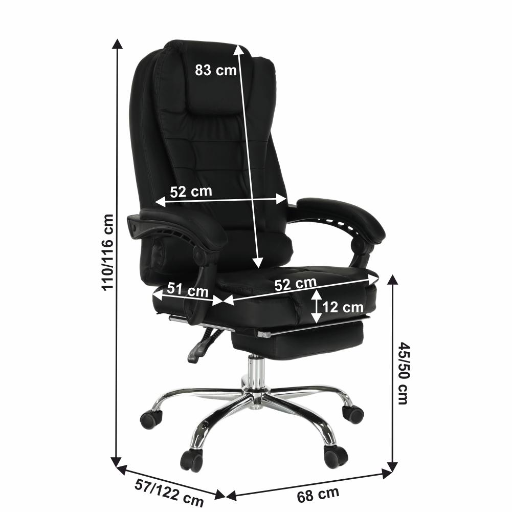 Kancelářské křeslo, výsuvná podnož, černá, TICHON NEW