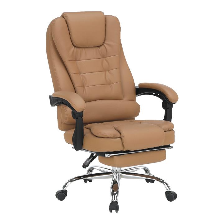 Kancelárske kreslo s výsuvnou podnožou, hnedá, TICHON NEW
