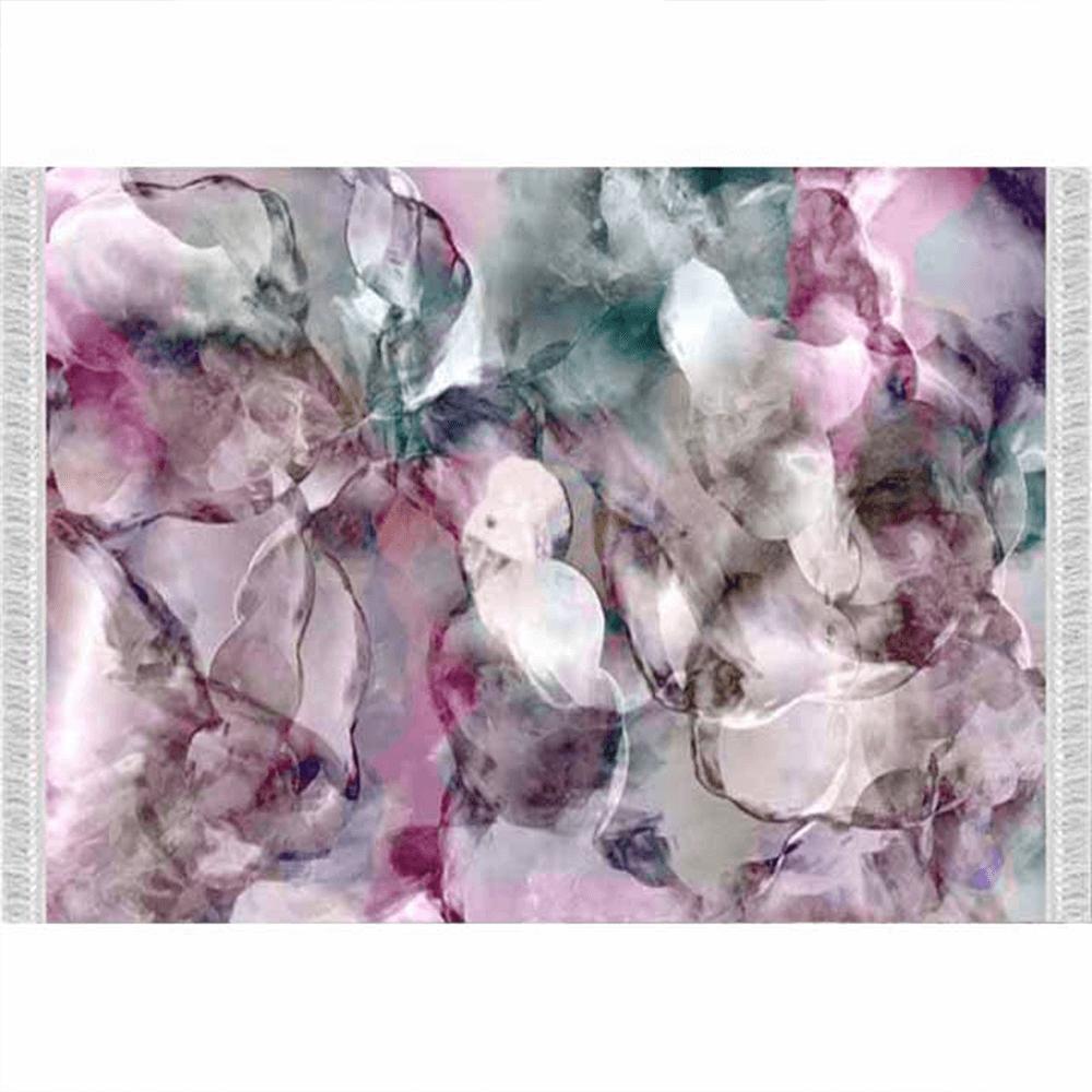 Koberec, ružová/zelená/krémová/vzor, 80x150, DELILA
