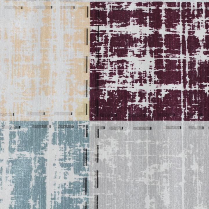 Szőnyeg,barna/bordó/négyzet minta, 80x150, FIRBI