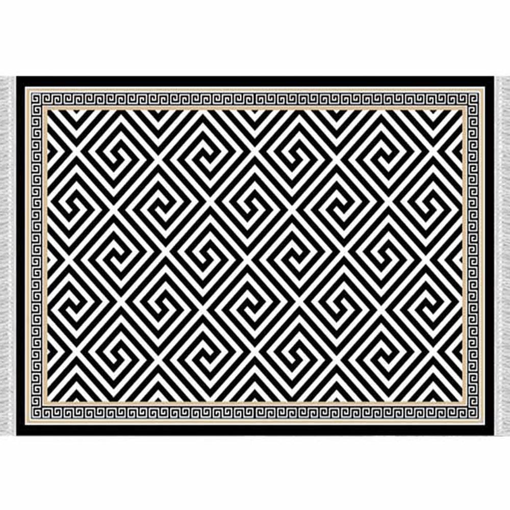 Koberec, černo-bílý vzor, 80x200, MOTIVE