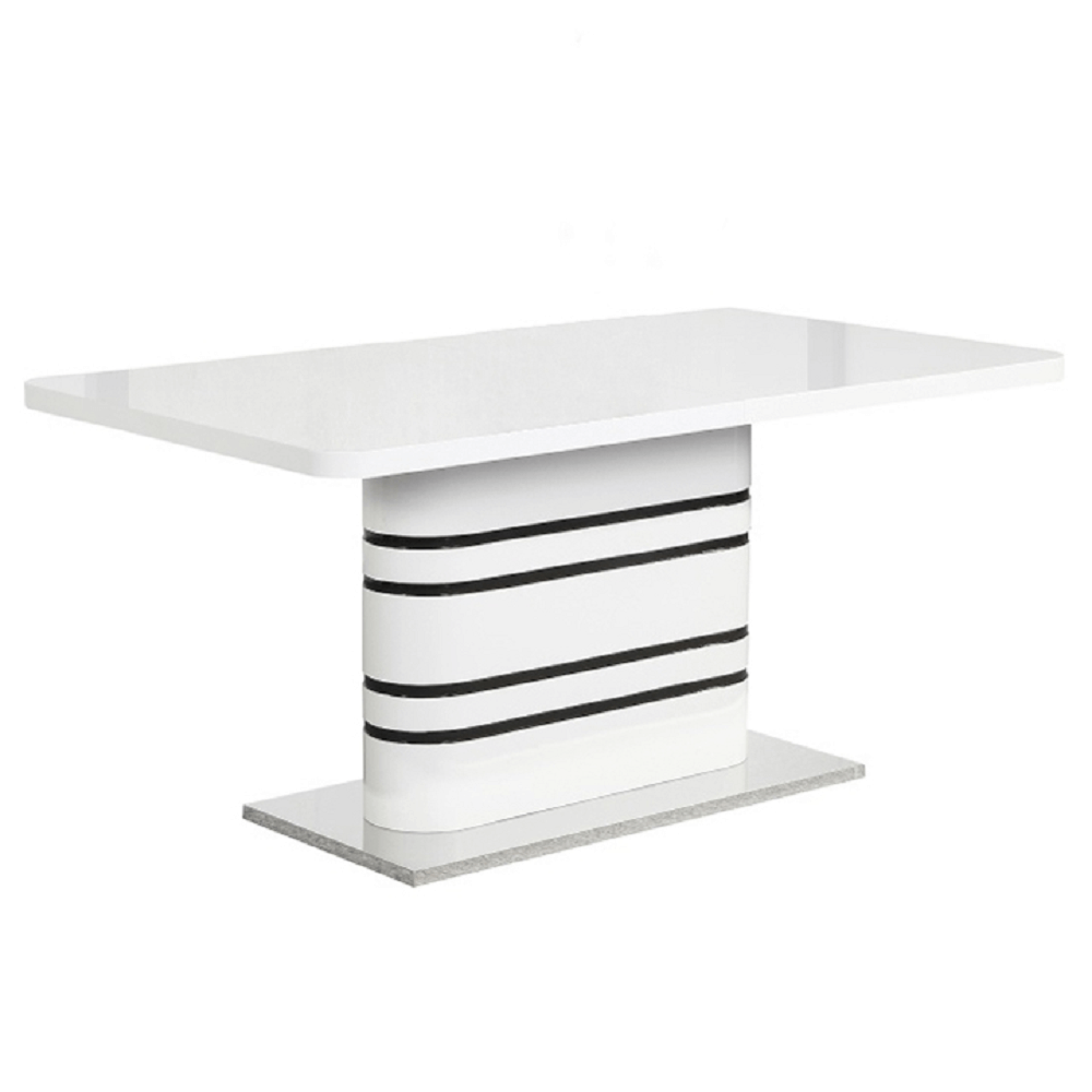 Jídelní rozkládací stůl, bílá vysoky lesk HG / černé pásky, TUBAL