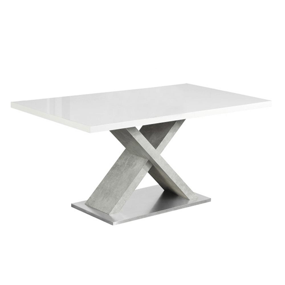 Masă dining, alb HG extra lucios/beton, FARNEL