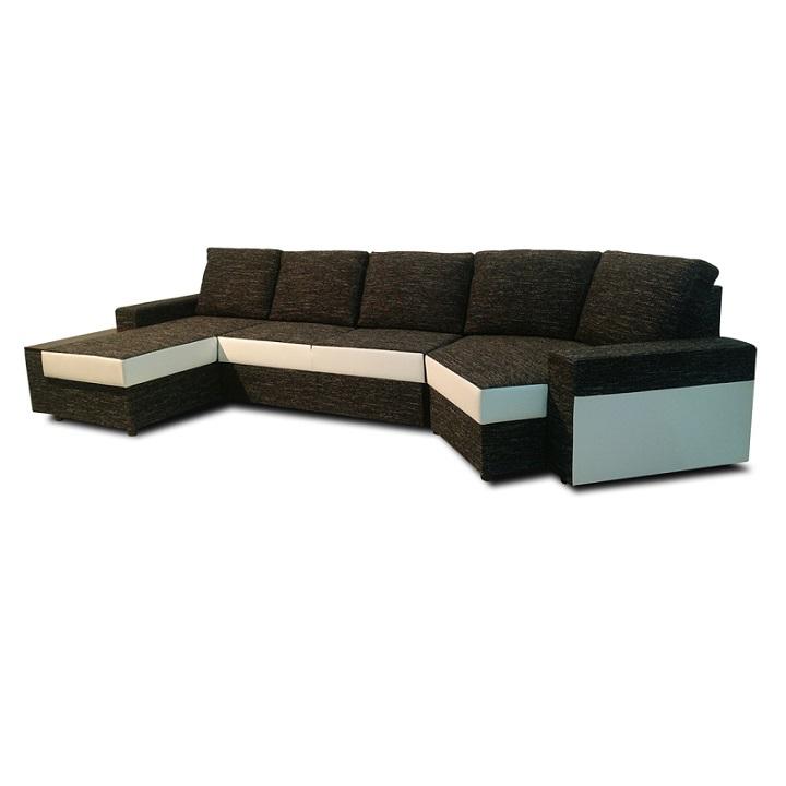 U alakú ülőgarnitúra, fehér textilbőr/fekete szövet, bal oldali kivitel, ROY
