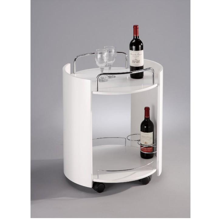 Servírovací stolík, biela/chróm, CARLSEN
