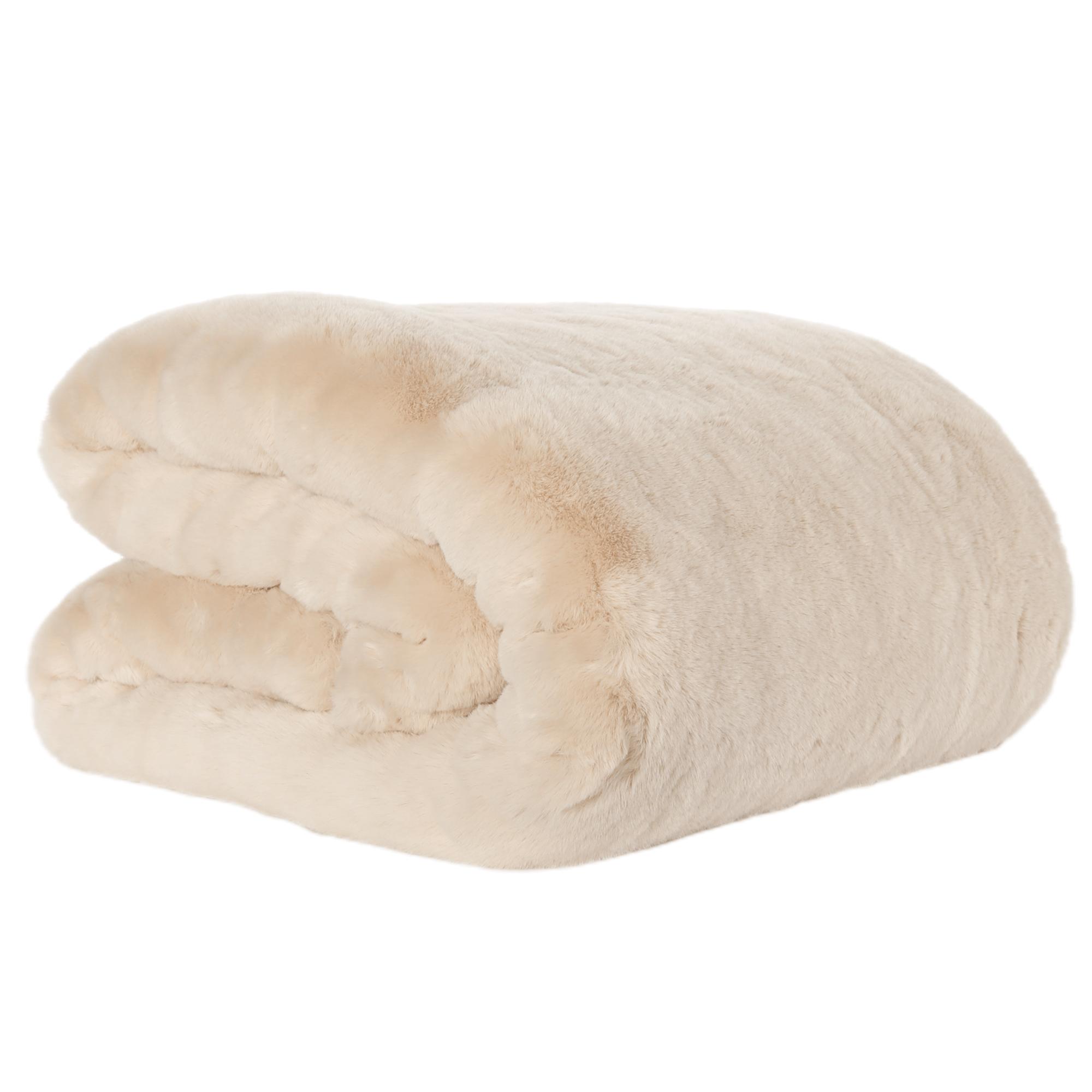 Kožušinová deka, béžová, 150x180, RABITA NEW TYP 2