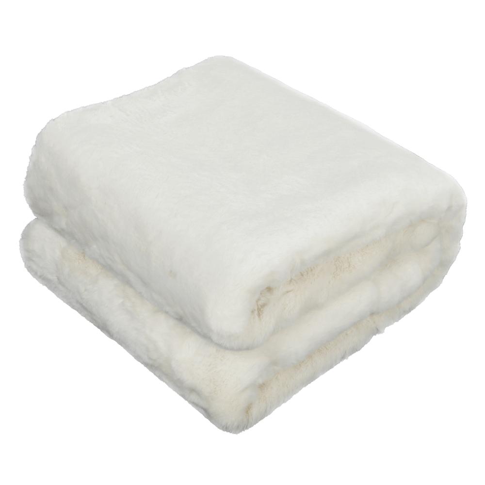 Kožušinová deka, biela, 150x180, RABITA NEW TYP 7