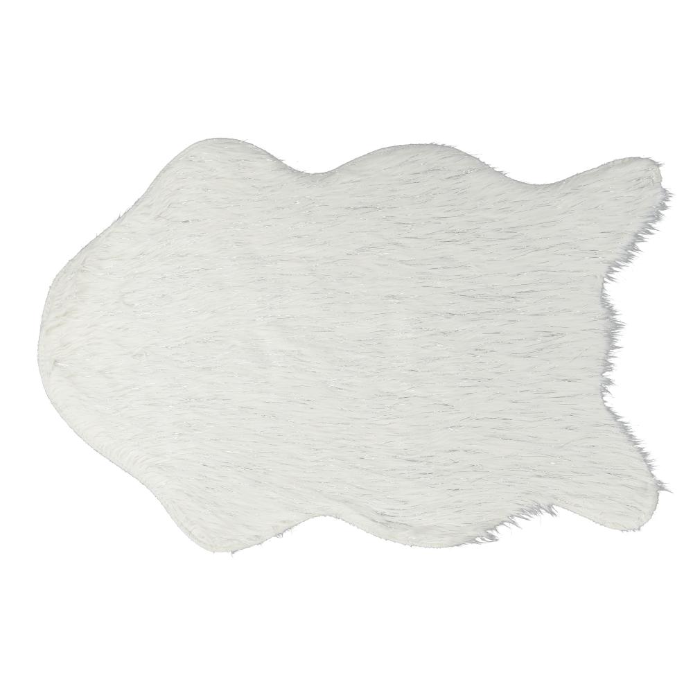 Umelá kožušina, biela/strieborná, 60x90, FOX TYP 1