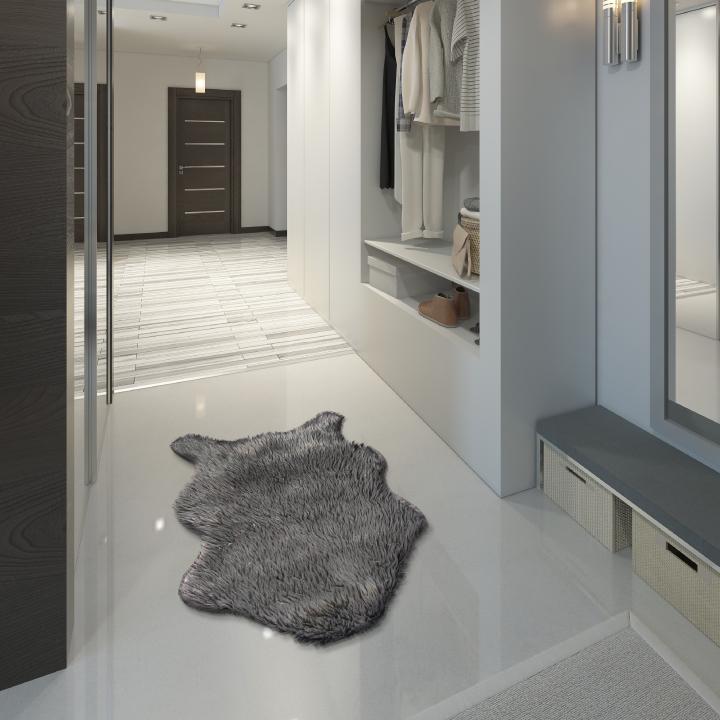 Umělá kožešina, šedá / stříbrná, 60x90, FOX TYP 2