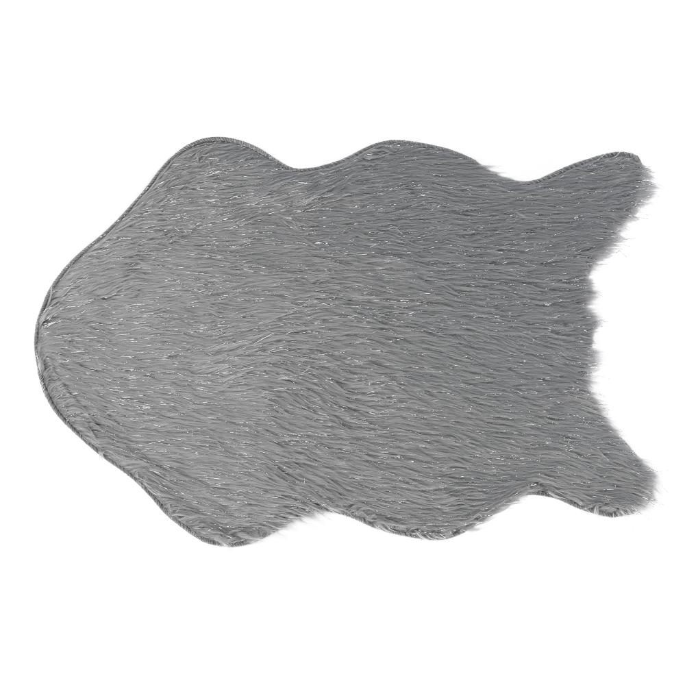 Umelá kožušina, sivá/strieborná, 60x90, FOX TYP 2