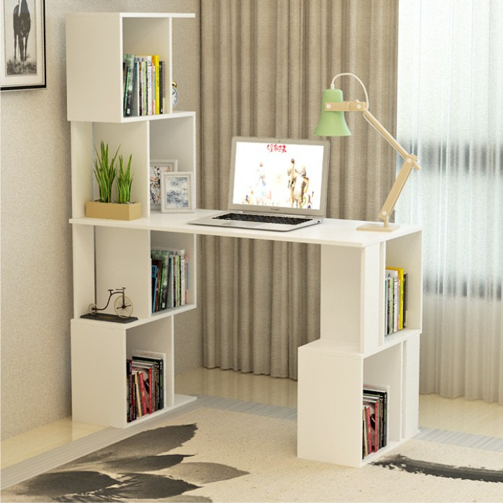 PC stůl s regálem, bílá, FLOKI NEW, TEMPO KONDELA