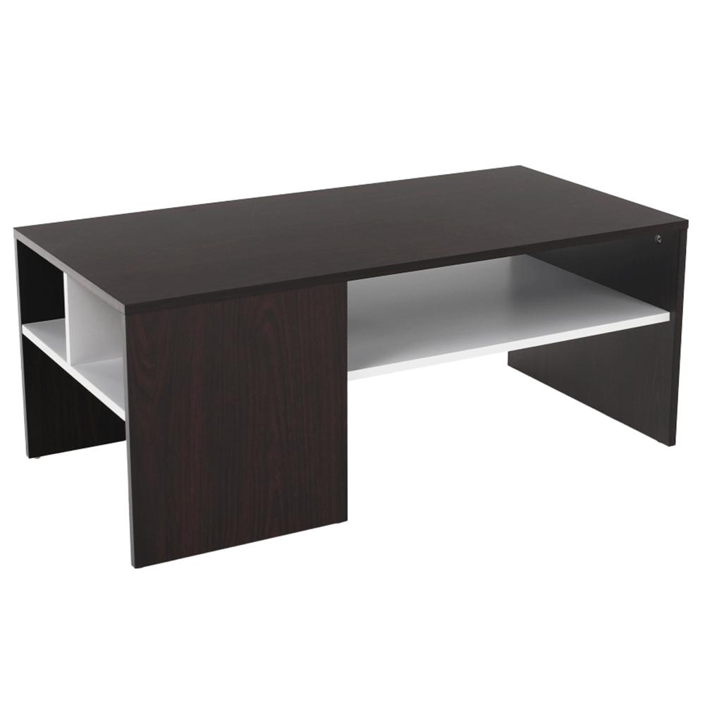 Konferenční stolek, ořech / bílá, VIENNA NEW