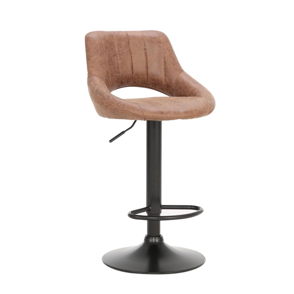Barová stolička, hnedá látka s efektom brúsenej kože, LORASA