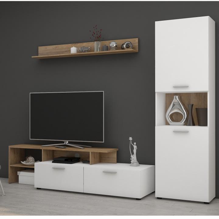 Obývacia stena, biela/dub lancelot, SKARLET