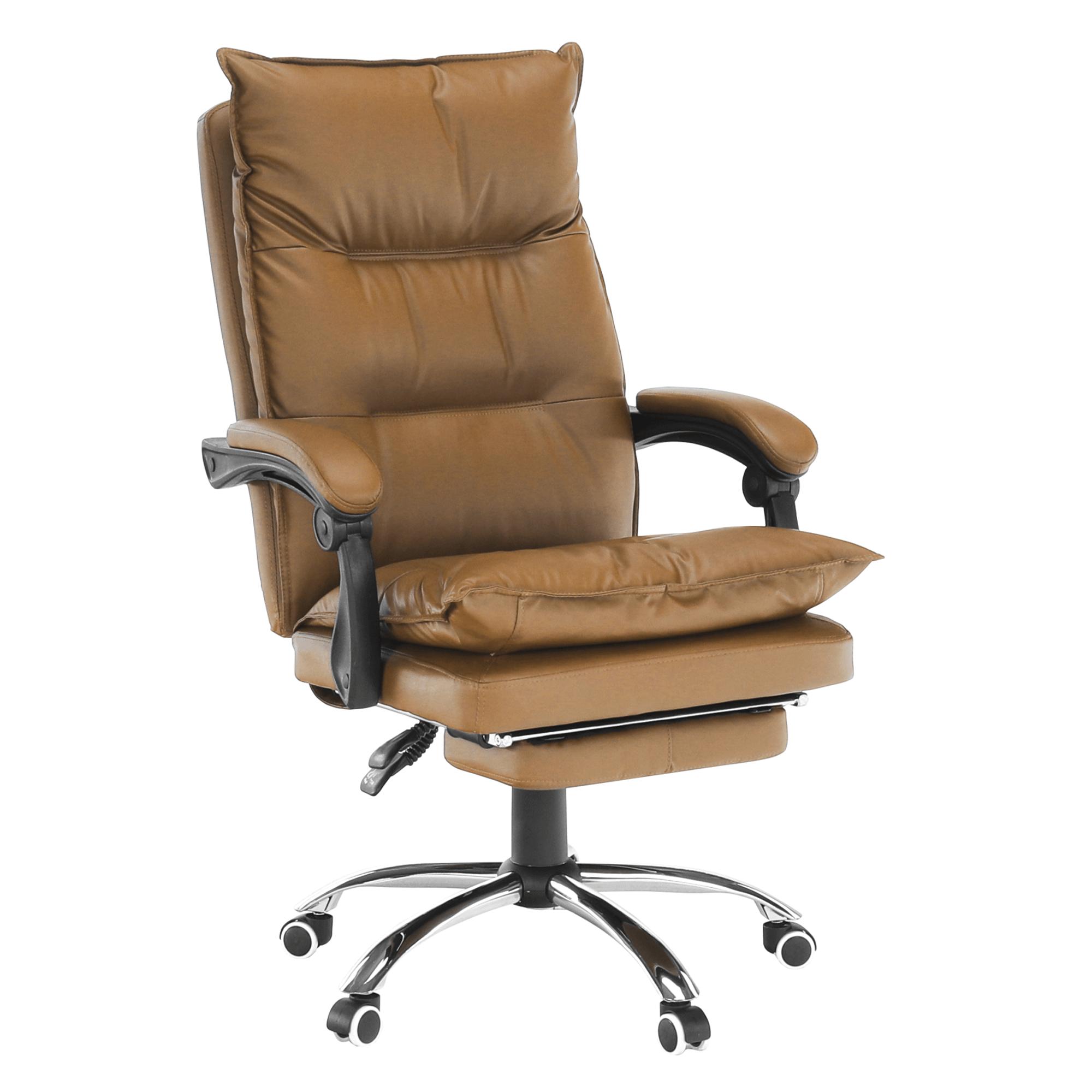 Fotoliu de birou cu suport pentru picioare, piele ecologică maro, DRAKE