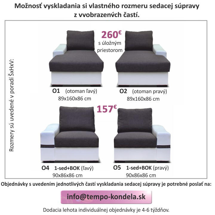 TEMPO KONDELA Sedacia súprava, rohová Ľ, rozkladacia, ekokoža biela/savana sivá, OREGON malý roh - Tempo nábytek