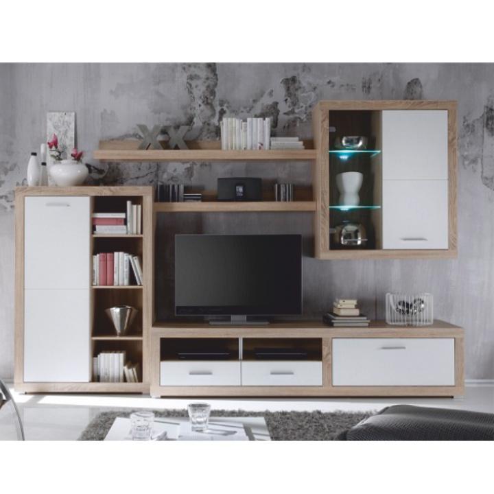 Obývacia stena, s osvetlením, dub sonoma/biela, CANCAN