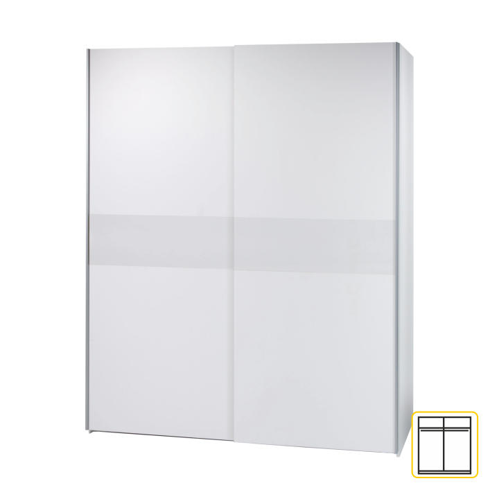 TEMPO KONDELA Vešiaková skriňa s posúvacími dverami, biela, VICTOR 2