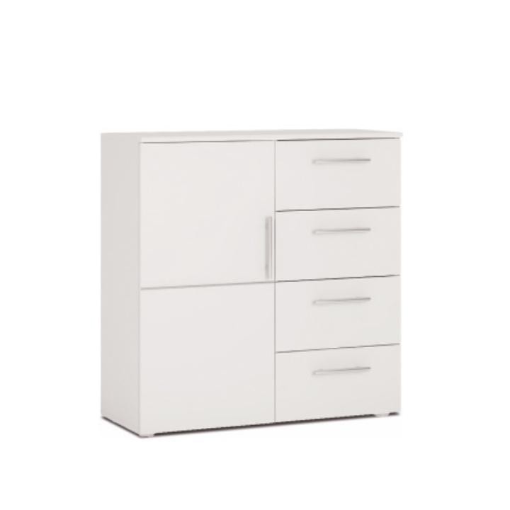 Komoda, 1 dverová so 4 zásuvkami, biela, PUNTO NEW 02 1D4Z