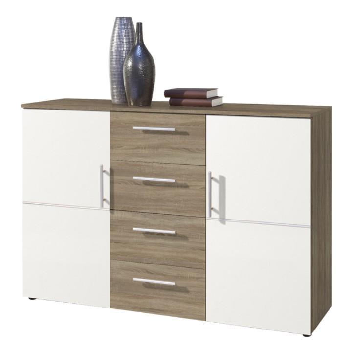 Komoda, 2 dverová so 4 zásuvkami, dub sonoma/biela, PUNTO NEW 4 2D4Z
